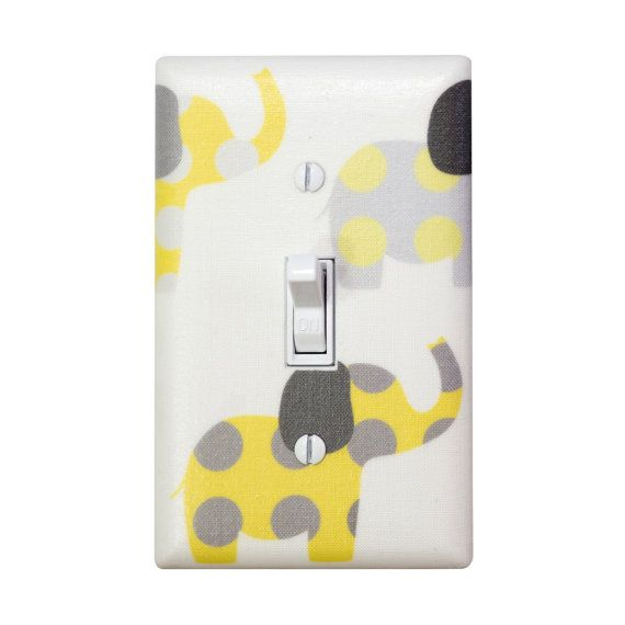 Yellow and Gray Elephant Nursery Decor / Light Switch Plate Cover / Baby Girl Boy Gender Neutral / Slightly Smitten Kitten