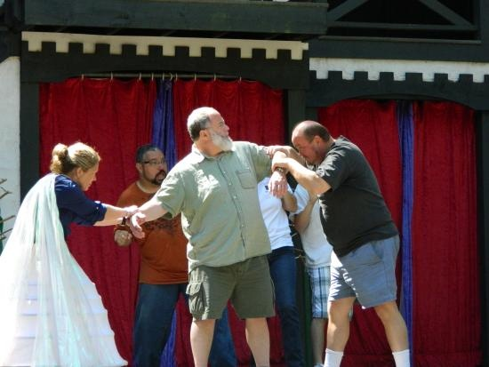 """The """"big bad wolf"""" goes after King Richard during rehearsals for """"The Stolen Crown Affair"""" at King Richard's Faire in Carver, Mass..  (See accompanying Cunniff Kids News story: http://teacherweb.com/MA/WatertownCunniffElementary/Newspaper/newsflash.aspx)"""