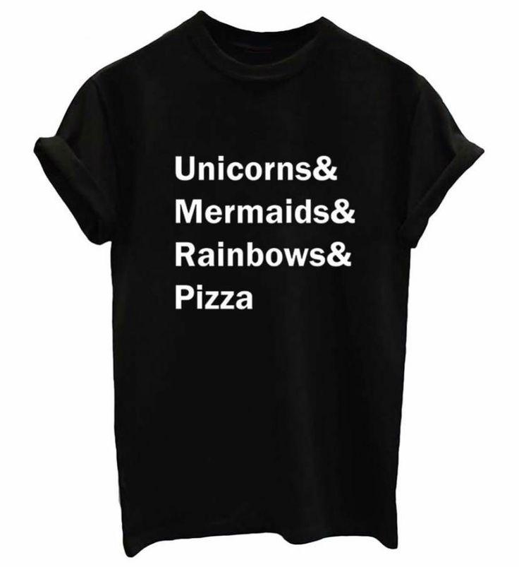 Unicórnios Sereias Rainbows de Pizza Impressão Mulheres camiseta de Algodão Ocasional Engraçado camisas de t Para Lady Top Tee Tumblr Hipster do Navio Da Gota SB03 em Camisetas de Das mulheres Roupas & Acessórios no AliExpress.com | Alibaba Group