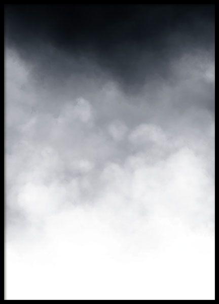 Posters, affischer och prints med abstrakt svartvit konst | stilren tavla med moln i svartvitt