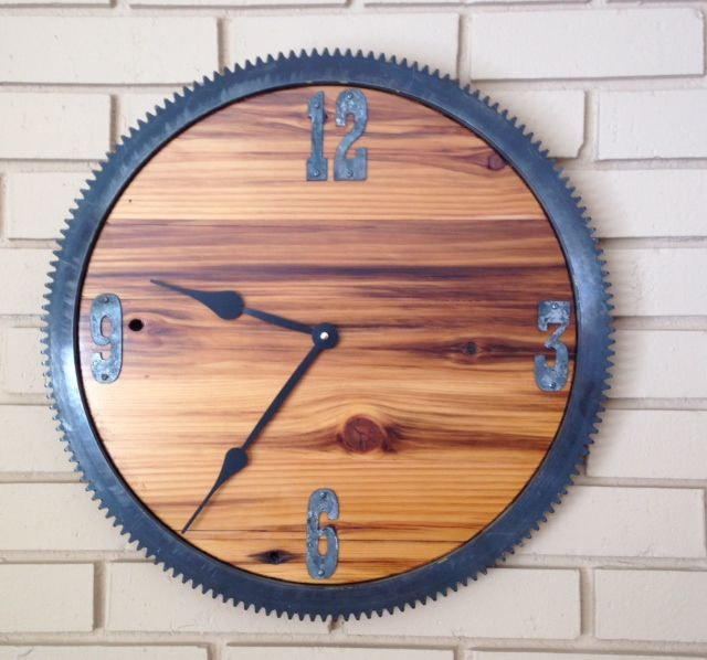 Check Out This 20 Inch Steel Gear And Barn Wood Clock Finished With  Waterlox Original Sealer