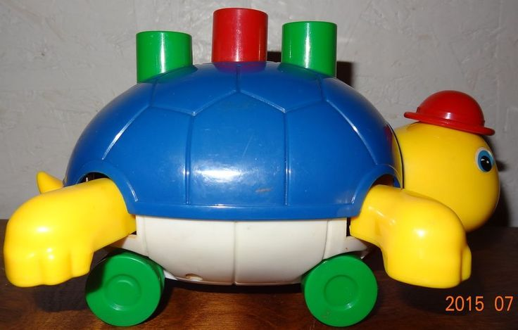 Vintage Turtle Baby Push toy Yellow Blue Rolling  #Unknown