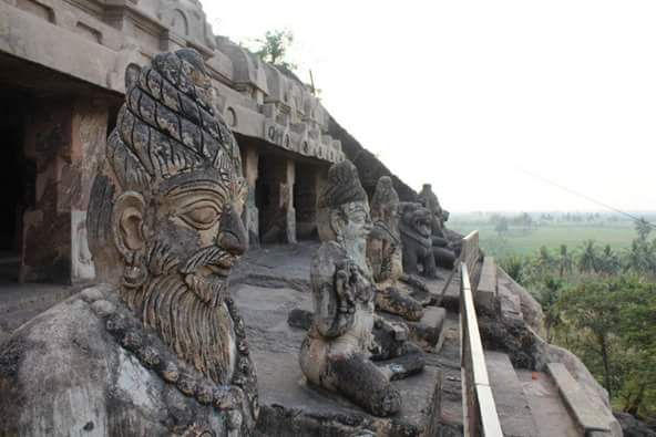 The Undavalli Caves, a monolithic example of Indian rock-cut architecture and one of the finest testimonials to ancient viswakarma sthapathis, are located in Undavalli of Guntur district in the Indian state of Andhra Pradesh. The caves are located 6 km south west from Vijayawada, 22 km north east of Guntur City of Andhra Pradesh.