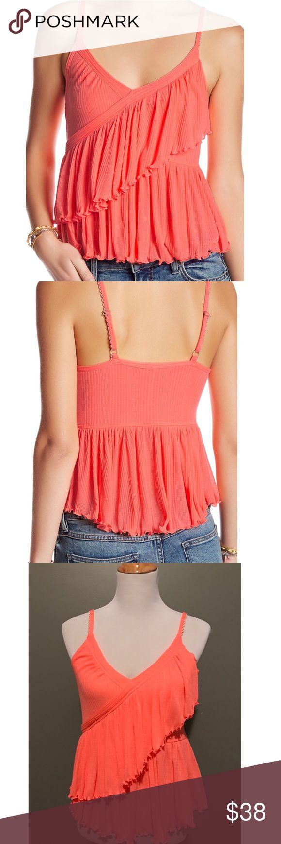 """NWOT Free People Ruffled Tiered Top - Adorable, vibrant pinkish Coral Tank be Free People.                                                                         - V-neck - Sleeveless - Scalloped adjustable straps - Tiered ruffle popover - Floral print - Ribbed construction - Approx. 22"""" length - Imported Fiber Content 100% polyester Free People Tops Tank Tops"""