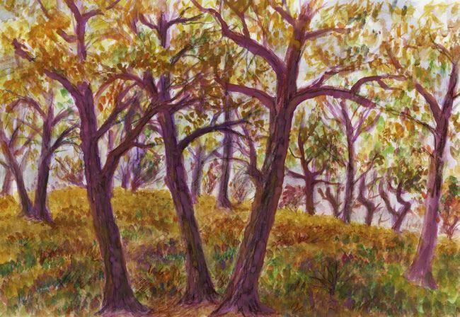 Podzimní lesík u Prahy, akvarel Jana Haasová