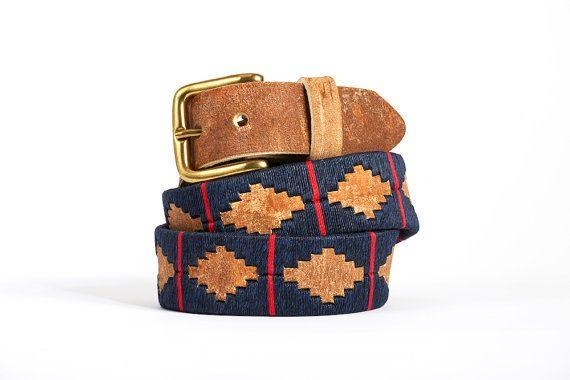 Ceinture de polo en cuir - ceinture argentine en cuir - ceinture france - ceinture homme et femme en cuir cru - marine et rouge - Kamyno