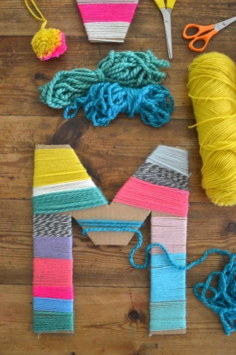 Cardboard letters wrapped with yarn made by kids. - Simple Crafts - Craft Project -  Kids Crafts - DIY Home Decor - Handmade Decor