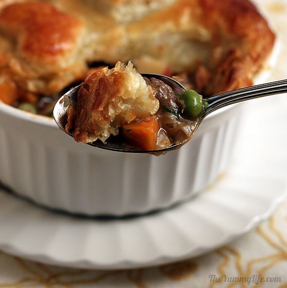 Individual Puff Pastry Beef Pot Pies   Recipe   Beef pot pies, Puff ...