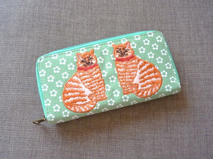 "Thanks for the kind words! ★★★★★ ""Lovely purse it's durable, well designed and it's got cats on it so it's an instant win"" Anna G. http://etsy.me/2znwij9 #etsy #accessories #wallet #green #white #kitsch #quirky #cats #polkadots #tomcats"