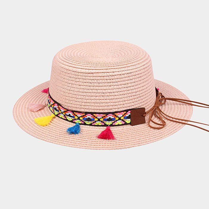 Rainbow Tassel Straw Sun Hat - Pink