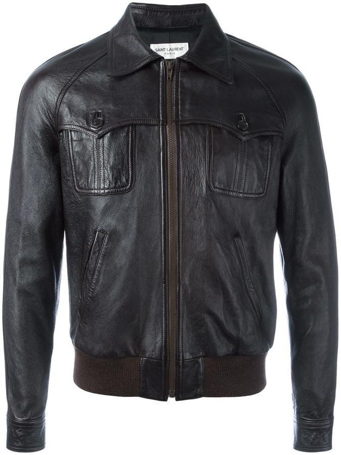 Saint Laurent 70's leather teddy jacket