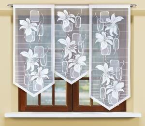 #Panel z zaakcentowanym obrzeżem wypełnia motyw finezyjnych kwiatów na przemian z abstrakcyjnymi elementami tworzącymi interesujący asymetryczny raport.  Dzięki wyrazistości wzoru będzie ten panel okienny żakardowy stanowić ciekawy akcent w każdym oknie Twego mieszkania, a szczególnie pokoju dziennego.    Wysokość x Długość: 120x60, 140x60, 160x60 cm  kasandra.com.pl