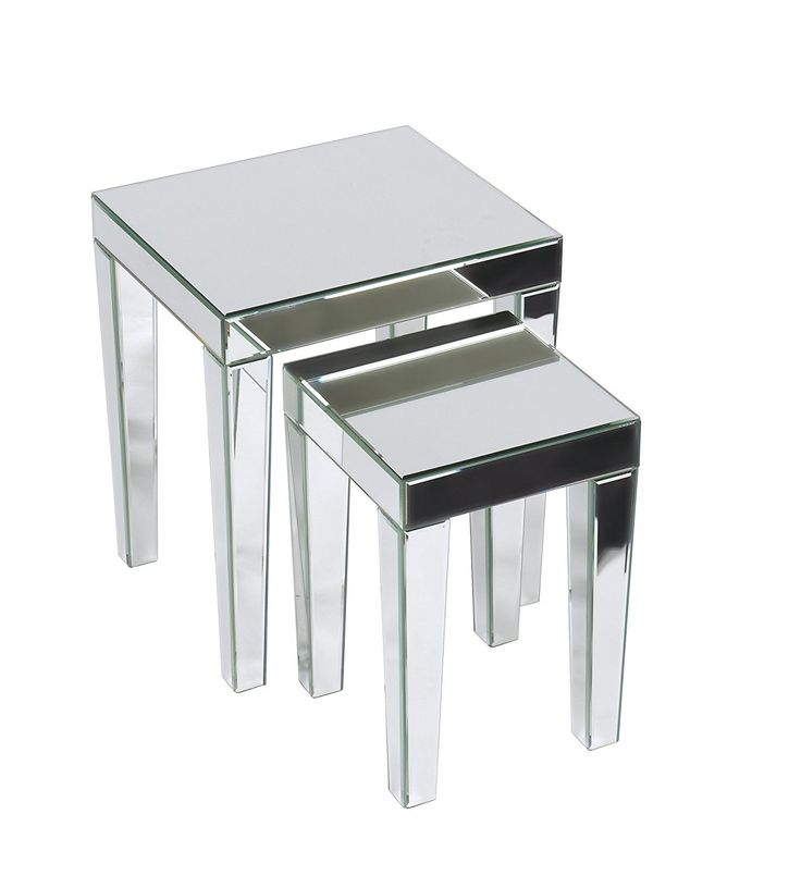 silver glass living room furniture%0A AVE SIX Reflections Nesting Tables  Silver Glass  Amazon ca  Home  u     Kitchen     NestsLiving Room