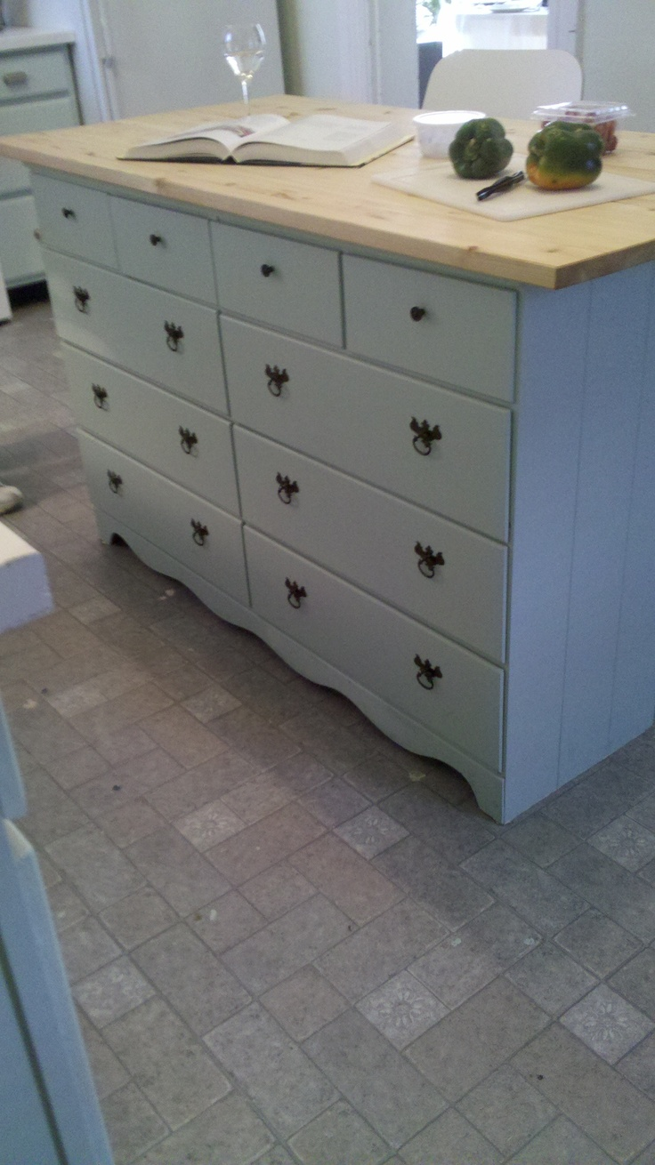 Paint And Old Dresser. Buy A Wooden Counter Top From Ikea. Drill The  Countertop