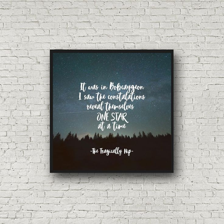 The Tragically Hip, fine print, Tragically Hip quote, Gord Downie, Bobcaygeon, Square Print by GroundwaterWords on Etsy https://www.etsy.com/ca/listing/482795854/the-tragically-hip-fine-print-tragically