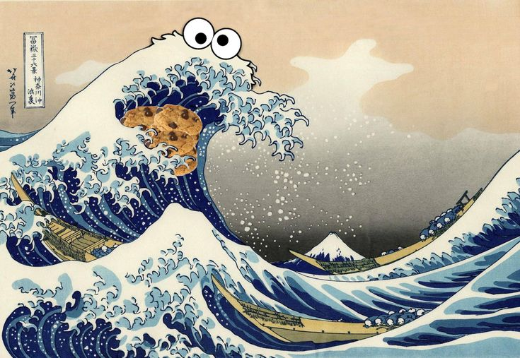 Sea is for Cookie: **The Blue Wave of Cookie Monster** (大きな波), also known as Sea is For Cookie or simply C is for Wave, is an imgur jpeg inspired by the print The Great Wave by the Japanese artist Hokusai.