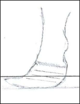 Description on how to trim a goat's hooves and illustrations showing the correct angle to use when trimming.