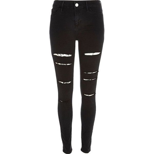 River Island Black ripped high waisted Molly jeggings found on Polyvore featuring pants, jeans, bottoms, jeans/pants and river island