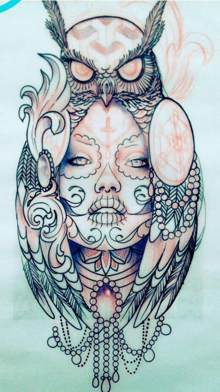 une autre bonne idée pour un hibou tatoué avec un unu et une belle …   – Tattoos