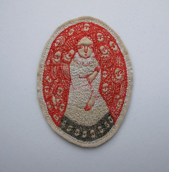 Scarlet Dreaming ~ oval dreamer portrait ~original miniature embroidery artwork by cathycullis on Etsy: