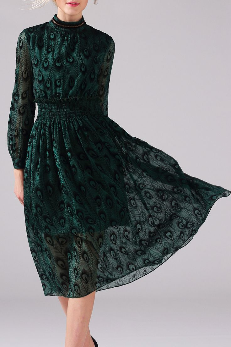 Peacock Long Sleeve Dress Click on picture to purchase!