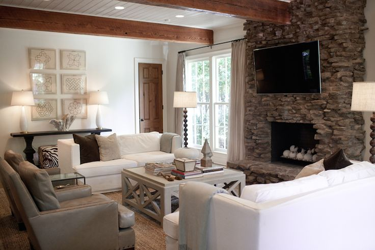 Elegant Living Room Features White Beadboard Ceiling
