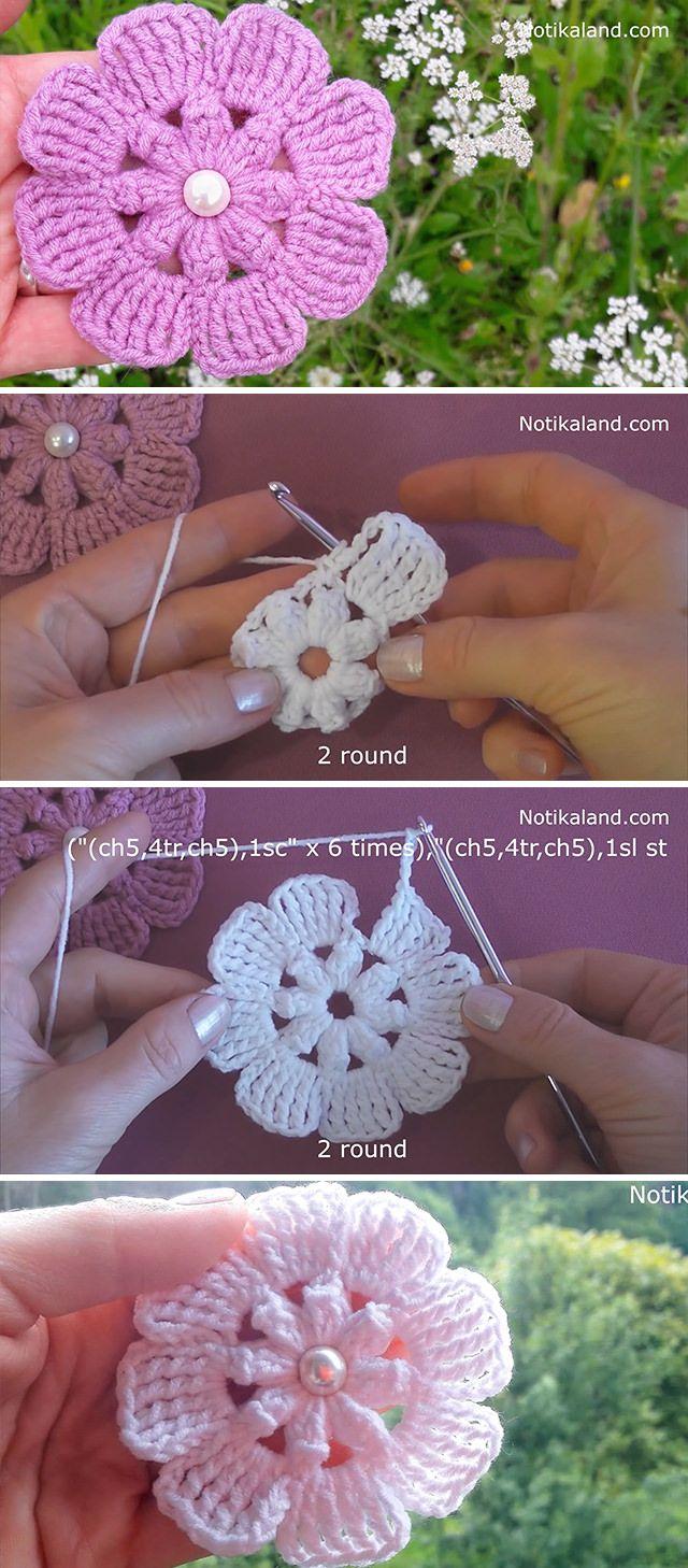 Häkeln Sie einfache Blume, die Sie machen müssen | CrochetBeja   – Flores em crochê