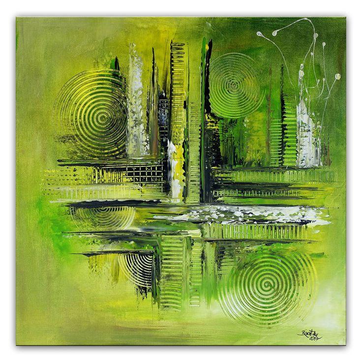 BURGSTALLER Original Gemälde Verirrt grün gelb abstrakte Kunst Bild Malerei
