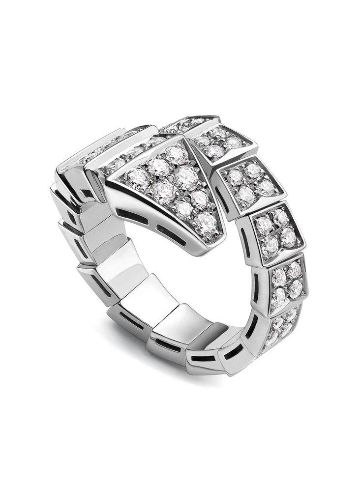 bvlgari white gold and diamond serpenti ring
