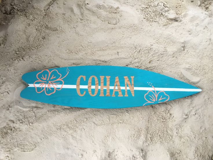 Surf board decor, custom surf board wall art, summer decor, wood surf board, any personalized name, personalized gift, nursery decor - pinned by pin4etsy.com