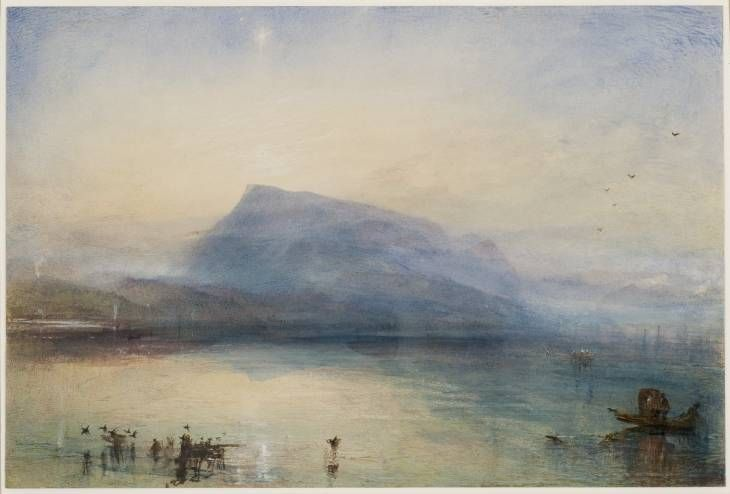 JMW Turner (1842) The Blue Rigi, Sunrise over Lake Lucerne, Switzerland. Held at Tate Britain, London. This is one of Turner's finest.