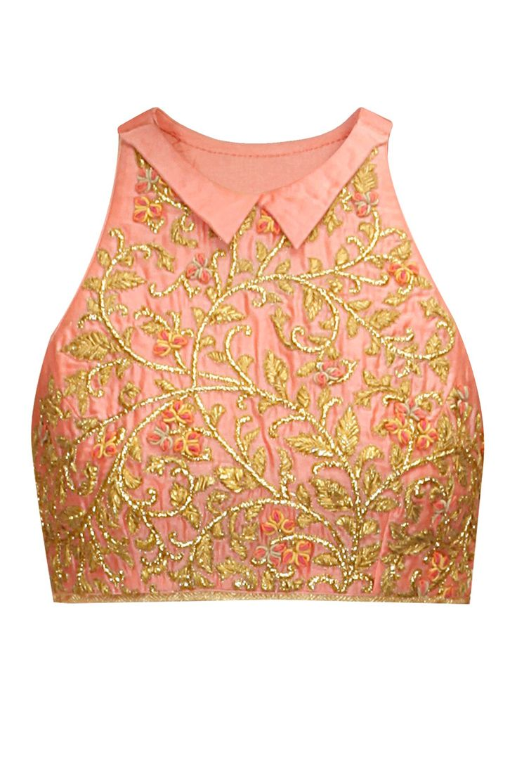 Peach-pink floral applique work crop top available only at Pernia's Pop-Up Shop.