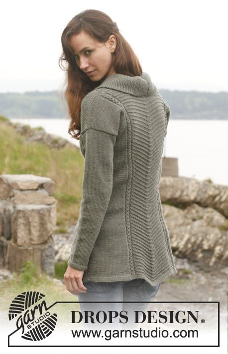 """Tanja - Knitted DROPS fitted jacket with textured pattern and shawl collar in """"Lima"""". Size: S - XXXL. - Free pattern by DROPS Design"""