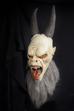 Christmas Krampus Anti Santa Demon Devil Monster Creature Halloween Mask.  This realistic Halloween mask is based on a dark little Christmas story and legendary tale told in many countries of this scary Demon beast known as Krampus, the Anti Santa.  $75.00 free U.S. Shipping. #halloween #halloweendecorations #costumes #halloweencostumes #pumkpins #halloweencandy