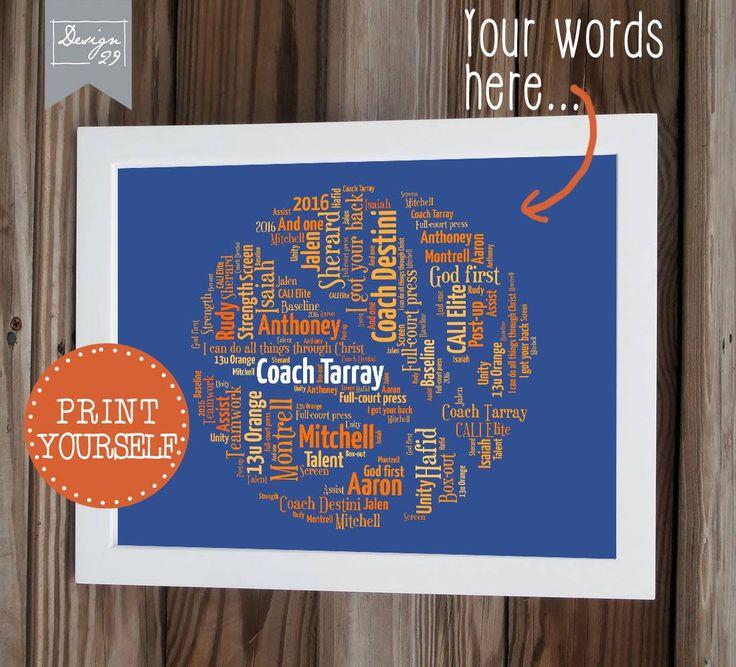 Basket Ball - teamnamen vormen een basketbal - Coach kapitein Trainer waardering Gift - gepersonaliseerde Word Art - afdrukbare Wall Art door Design29nl op Etsy https://www.etsy.com/nl/listing/399197561/basket-ball-teamnamen-vormen-een