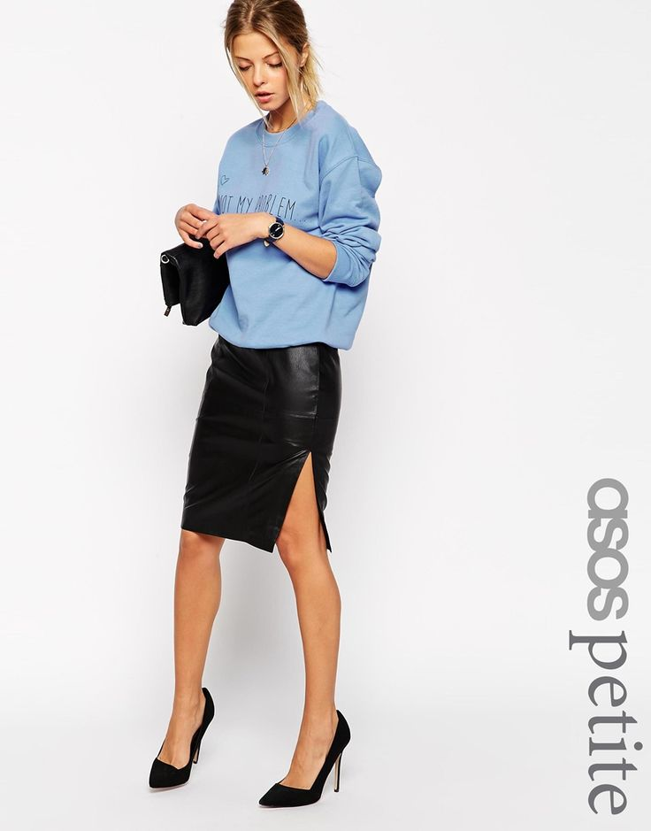 ASOS+PETITE+Pencil+Skirt+In+Leather+With+Side+Split