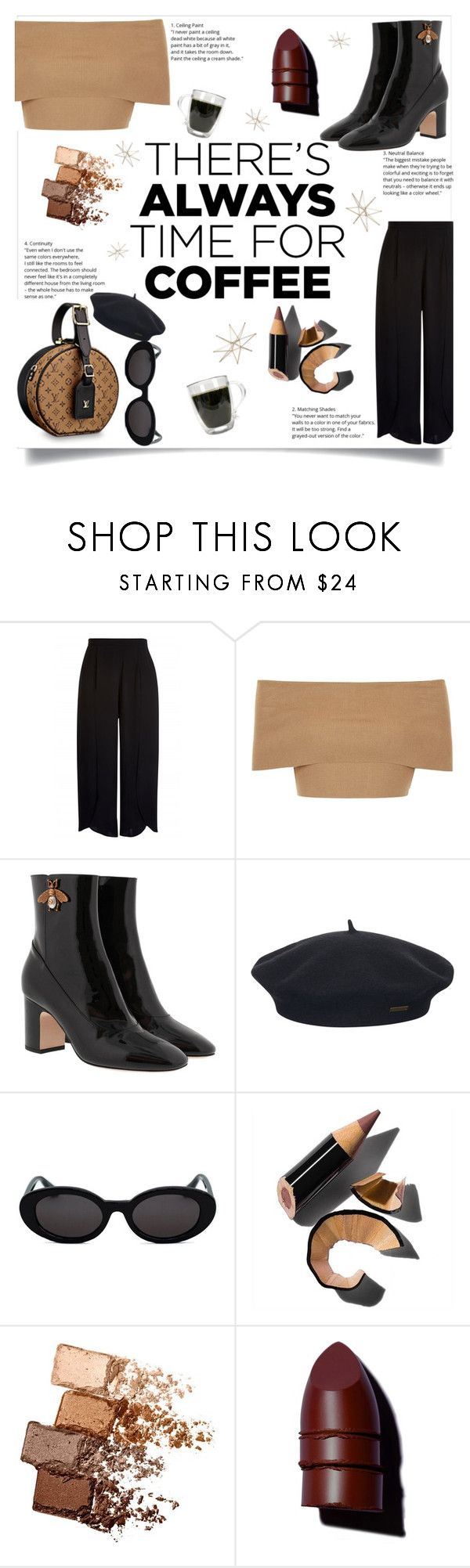 """""""Coffee (Con)"""" by kassmv ❤ liked on Polyvore featuring Blue Vanilla, Gucci, Element, Bobbi Brown Cosmetics, Maybelline, Anastasia Beverly Hills, Uttermost and CoffeeDate"""