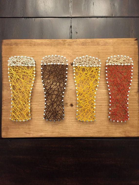 Beer string art Beer fiber art Bar art by ShopAmbiguouS on Etsy