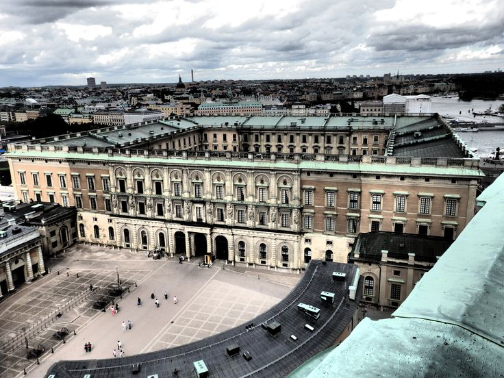 view from the top of Storkyrkan tower toward the royal palace, Stockholm