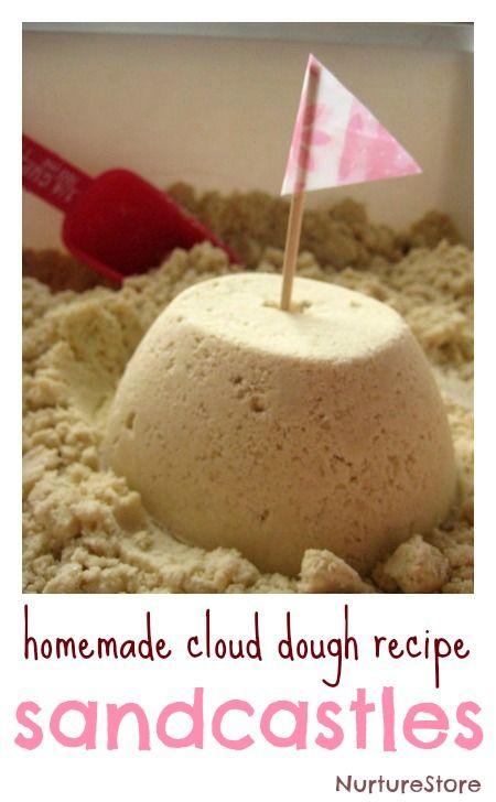 Sandcastle messy play :: homemade cloud dough recipe