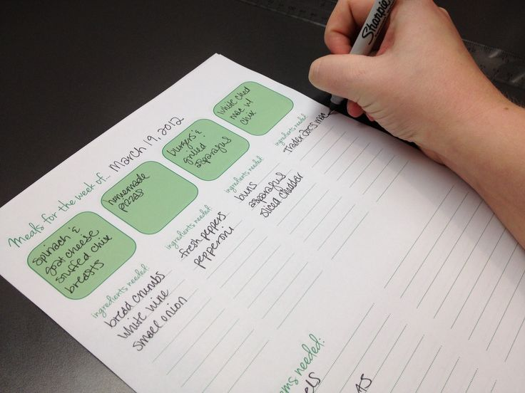 Combination meal planner and grocery list, available to print out here. I really like this idea, and the way she organized it.