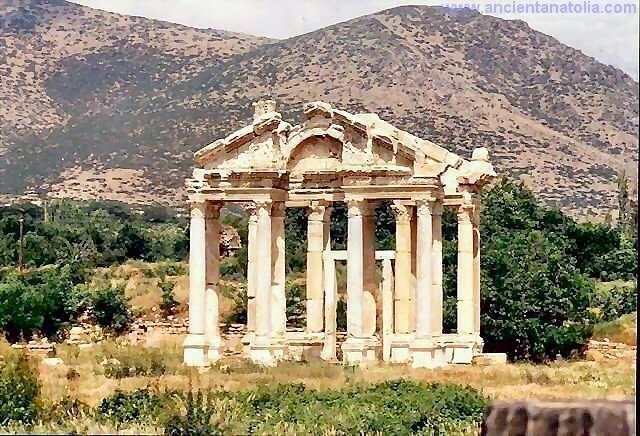 Tetrapylon, gateway to the Aphrodite temple at Aphrodisias / TURKEY