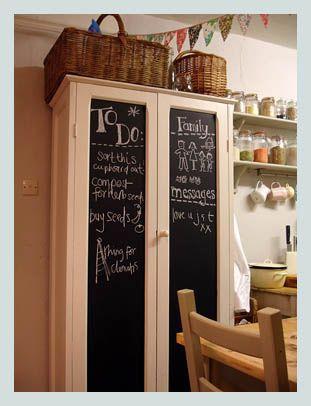 Chalkboard cupboard, super idea for the kitchen or kids room, say it like it is . . .