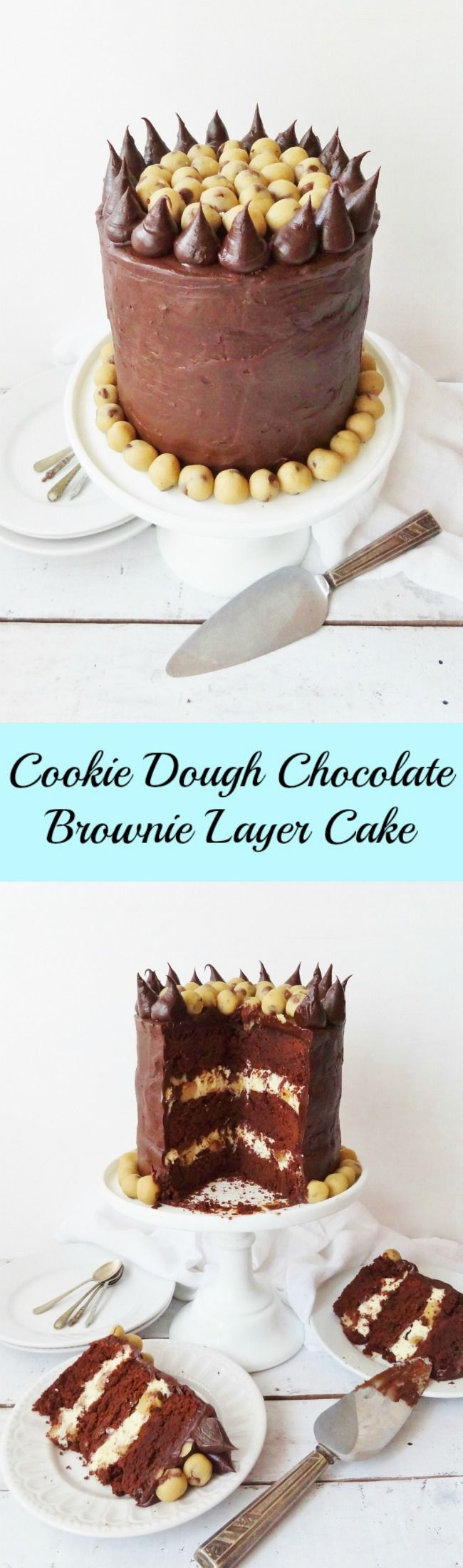 Cookie dough chocolate brownie layer cake - AKA Ben and Jerry's Half Baked inspired cake - recipe