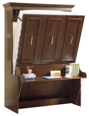 Double Portrait Wall Bed-Desk Walnut traditional-murphy-beds