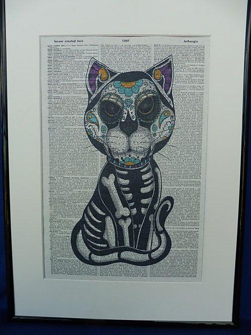 Sugar Skull Cat Dia de los Muertos Cat Poster by DecorisDesigns