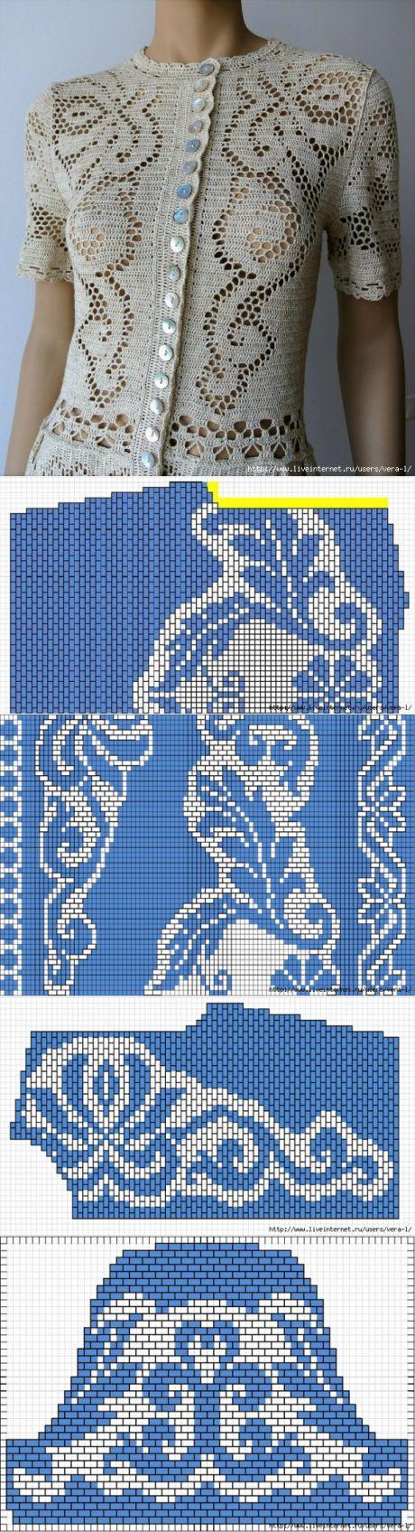 Платье с красивыми филейными узорами крючком. Автор-исполнитель и подобранных схем - sheva-tex