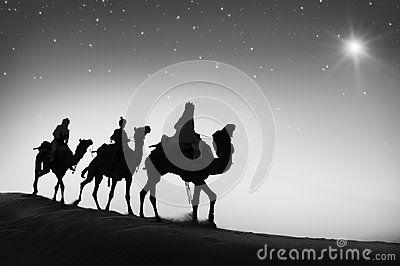 Conceito de Bethlehem do deserto do curso do camelo de três homens sábios