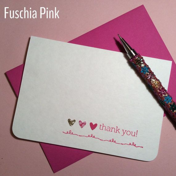 Thank you card pack of 10. Gold glitter heart by CherryMadeThis