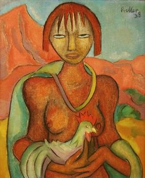 """Graham's Fine Art Gallery - Collection - Artist Preller, Alexis (1911 - 1975) """"The Offering"""" Oil on Raw Canvas 62 x 51.5cm Signed: """"Preller"""" (Upper/Right) Dated: 1938"""